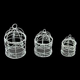 """Подсвечник сувенирный """"Клетки"""", набор 3 шт., 8.5х5.5х5.5 см, 11.5х6.5х6.5 см, 14х8х8 см"""