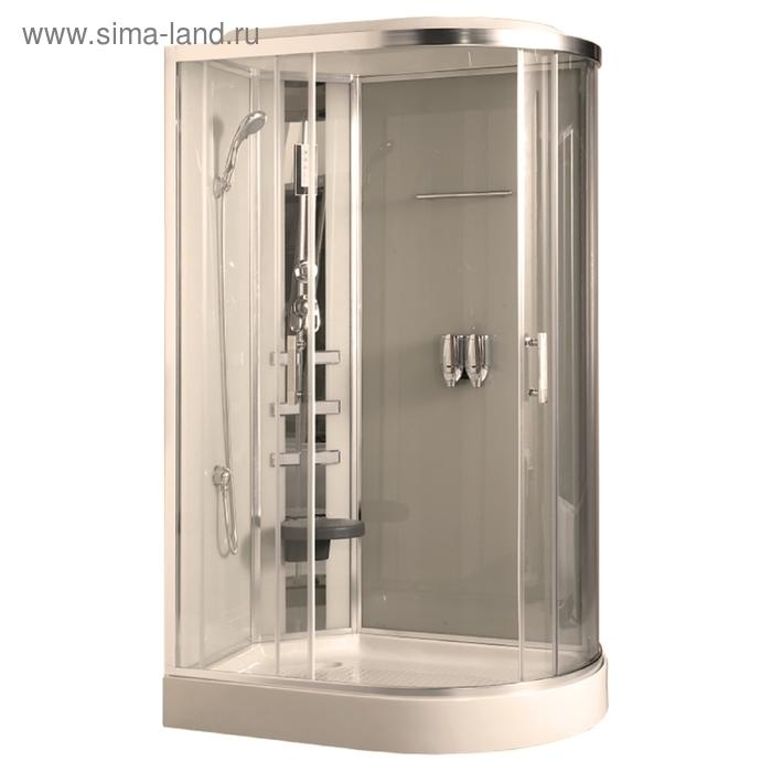 Душевая кабинка Comforty 183L, стекло прозрачное, задняя панель слоновая кость, 120 х 85 х 215 см
