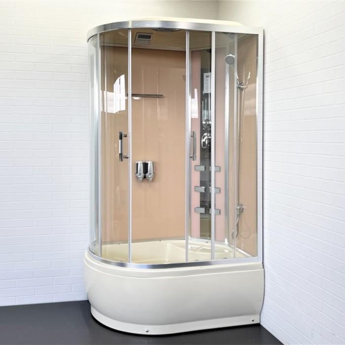 Душевая кабинка Comforty 184R, стекло прозрачное, задняя панель слоновая кость, 120 х 85 х 215 см