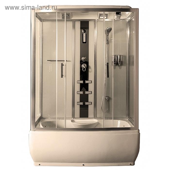 Душевая кабинка Comforty 186, стекло прозрачное, задняя панель слоновая кость, 150 х 85 х 215 см