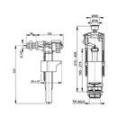 """Арматура для смывных бачков Alcaplast SA2000, 1/2"""", с боковой подводкой, стоп кнопка, хром"""