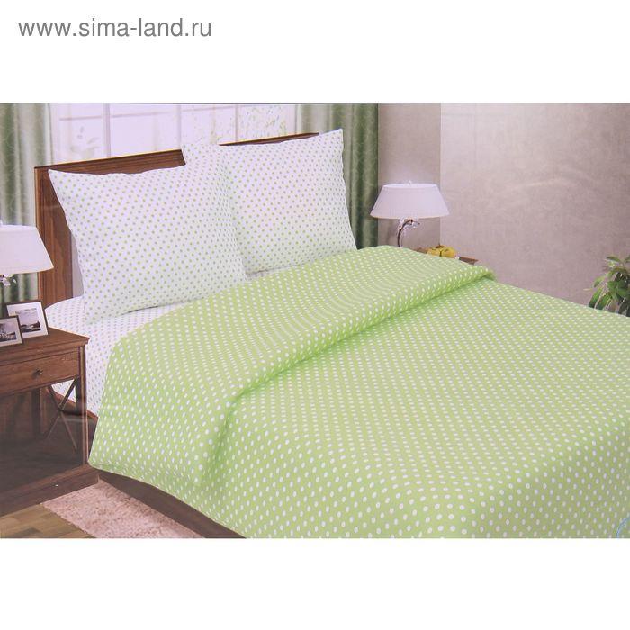 """Постельное бельё Pastel """"Горошек зеленый"""" евро, размер 200х217 см, 220х240 см, 70х70 см - 2 шт., поплин, 110 г/м2"""