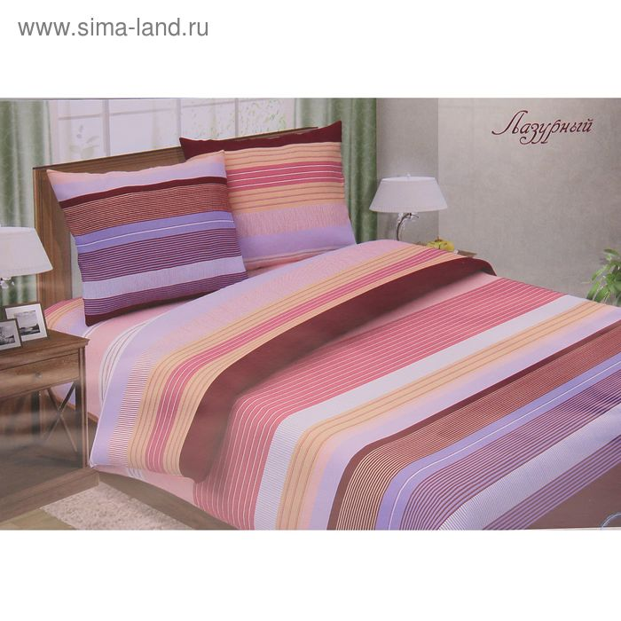 "Постельное бельё Pastel ""Лазурный розовый"" 2 сп., размер 175х217 см, 180х220 см, 70х70 см - 2 шт., поплин, 110 г/м2"