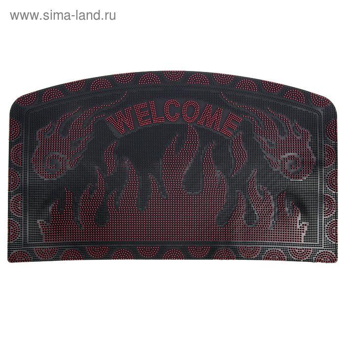 """Коврик придверный 45х75 см """"Welcome. Пламя"""", цвет МИКС"""