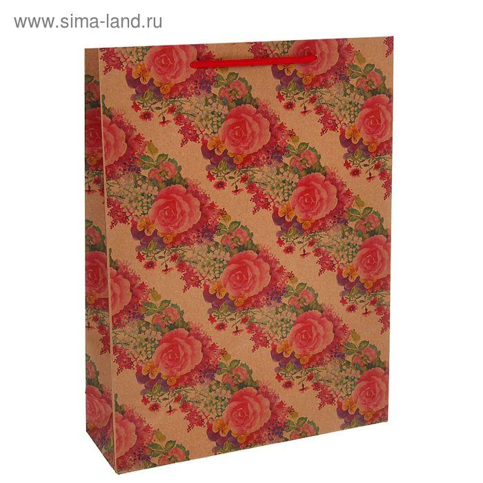 """Пакет крафт """"Розы"""", 19 х 25 х 8 см"""