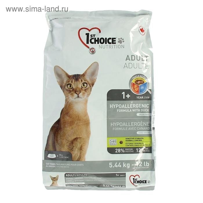 Сухой беззерновой корм для кошек 1st CHOICE гипоаллергенный, утка с рисом, 5,44 кг