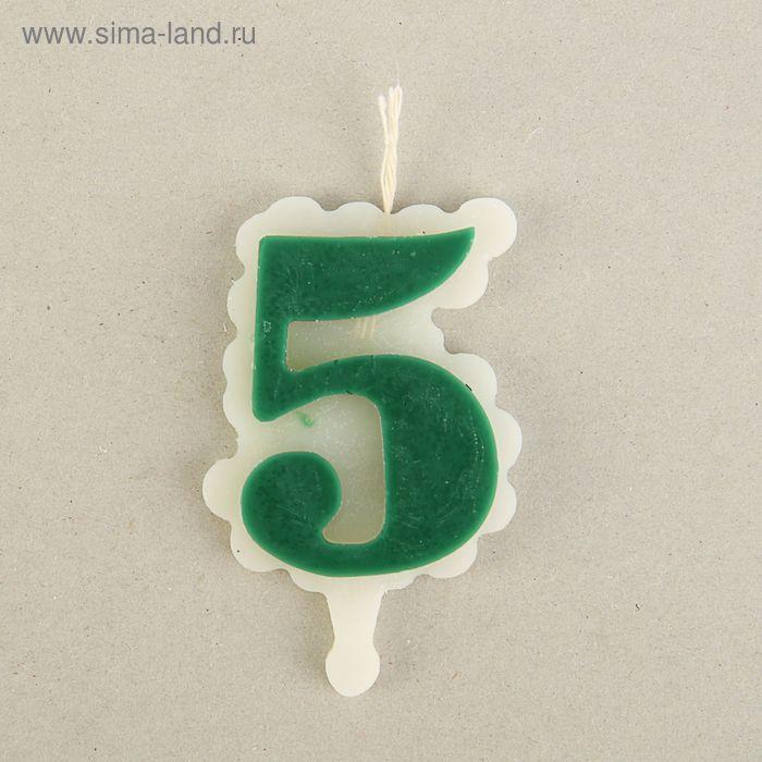 """Свеча для торта цифра """"Облако"""" зелёная """"5"""", большая"""