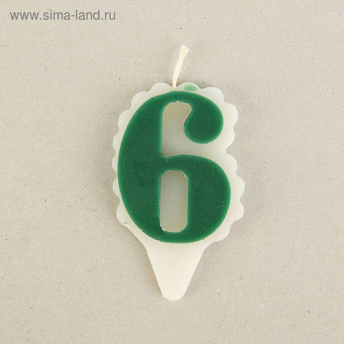 """Свеча для торта цифра """"Облако"""" зелёная """"6"""", большая"""