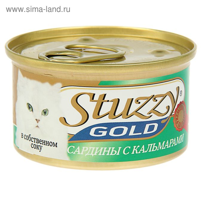 Влажный корм STUZZY GOL для кошек, сардины с кальмарами в собственном соку, 85 г