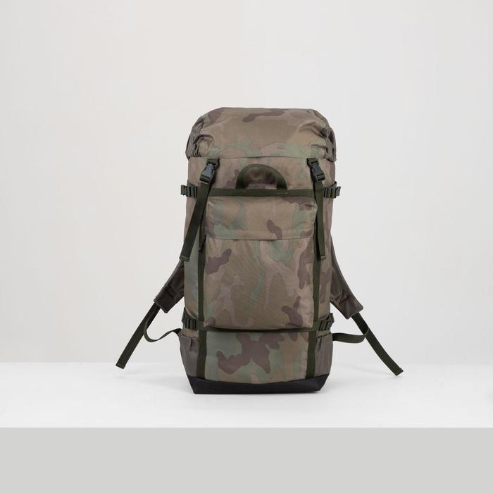 """Рюкзак туристический на стяжке шнурком """"Камуфляж"""", 1 отдел, 3 наружных кармана, объём - 50л, цвет хаки"""