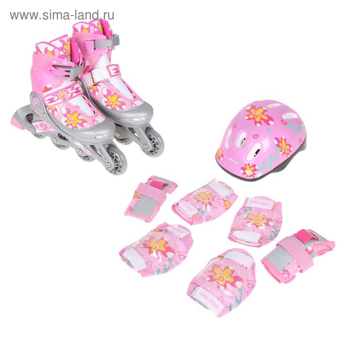 Набор Ролики раздвижные+Защита,ABEC 5,колеса PU 70 мм,пластиковая рама,pink р.34-38 в пакете