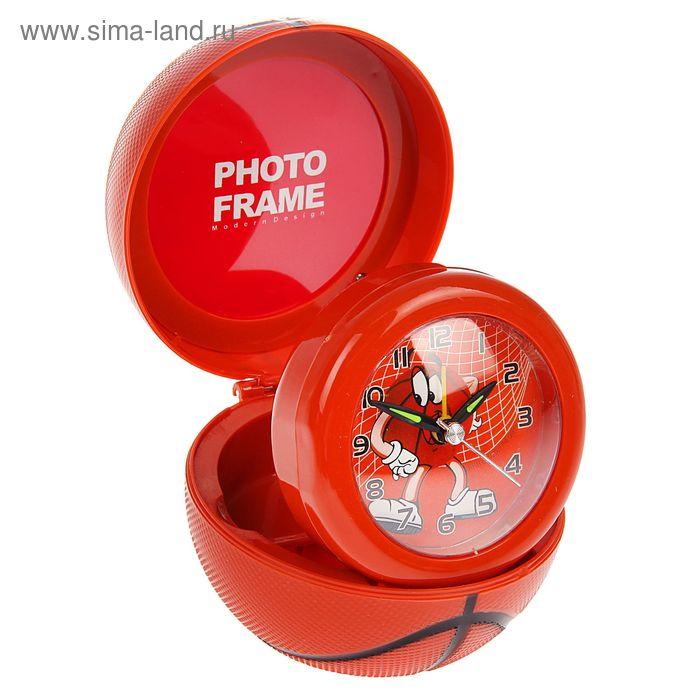 Будильник пластиковый с фоторамкой, оранж, 8,5х8,5х10 см, фото 7,5х7,5