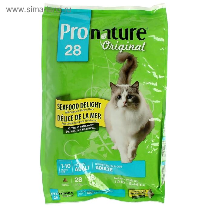 """Pronature 28 корм для кошек  """"Океан Удовольствия"""" цыпленок и морепродукты  5,44 кг"""
