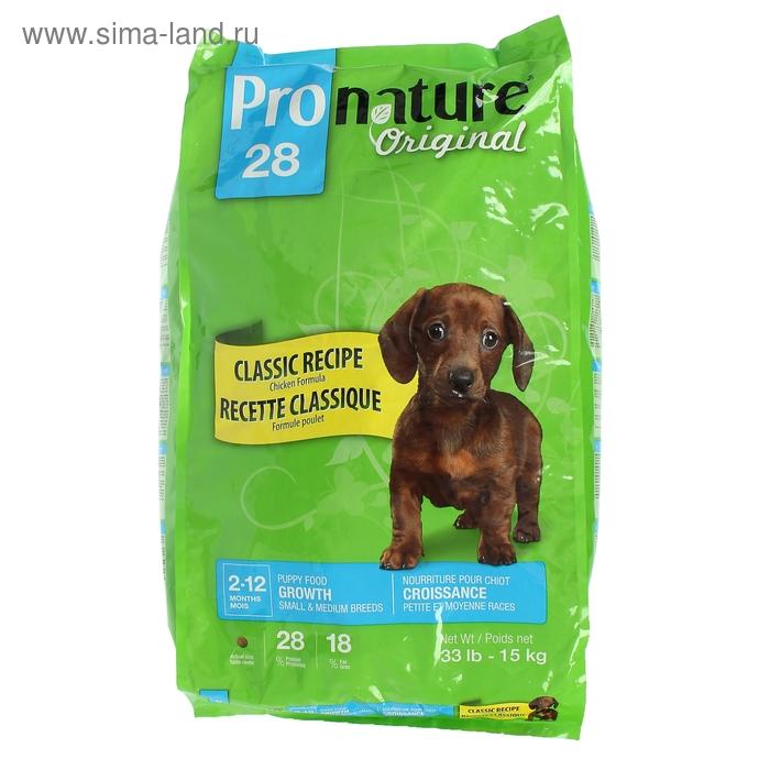 Pronature 28 корм для щенков мелких и средних пород, цыпленок, 15 кг