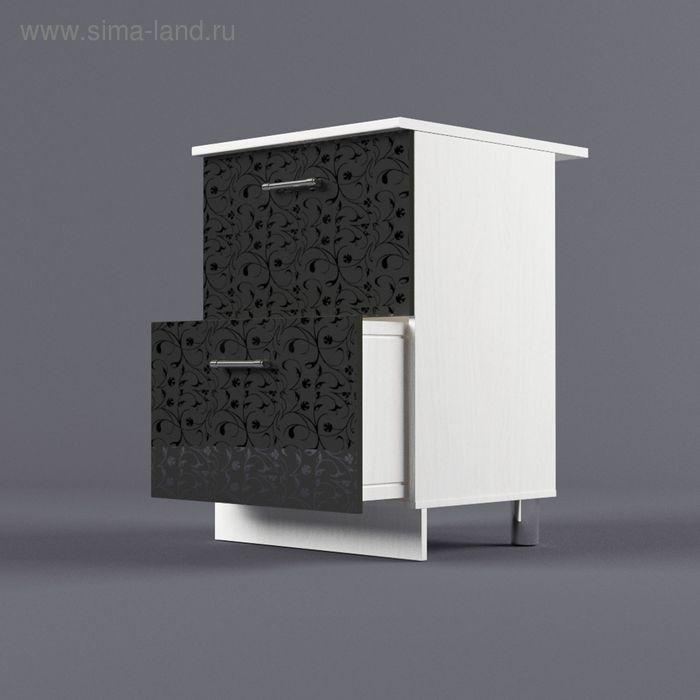 Шкаф напольный 850*600*600 2 ящика Черные цветы