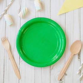 Тарелка бумажная однотонная, зеленый цвет (18 см)