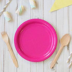 Тарелка бумажная однотонная, розовый цвет, 18 см Ош