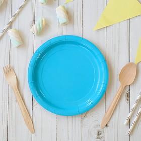 Тарелка бумажная однотонная, голубой цвет (18 см)