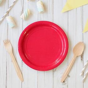 Тарелка бумажная однотонная, красный цвет, 18 см Ош