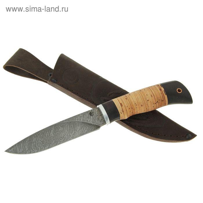 """Нож нескладной """"Мурена"""", дамасская сталь, рукоять-береста, граб, дюраль"""