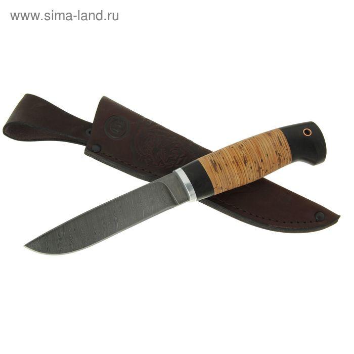 """Нож нескладной """"Финский"""", дамасская сталь, рукоять-береста, граб, дюраль"""