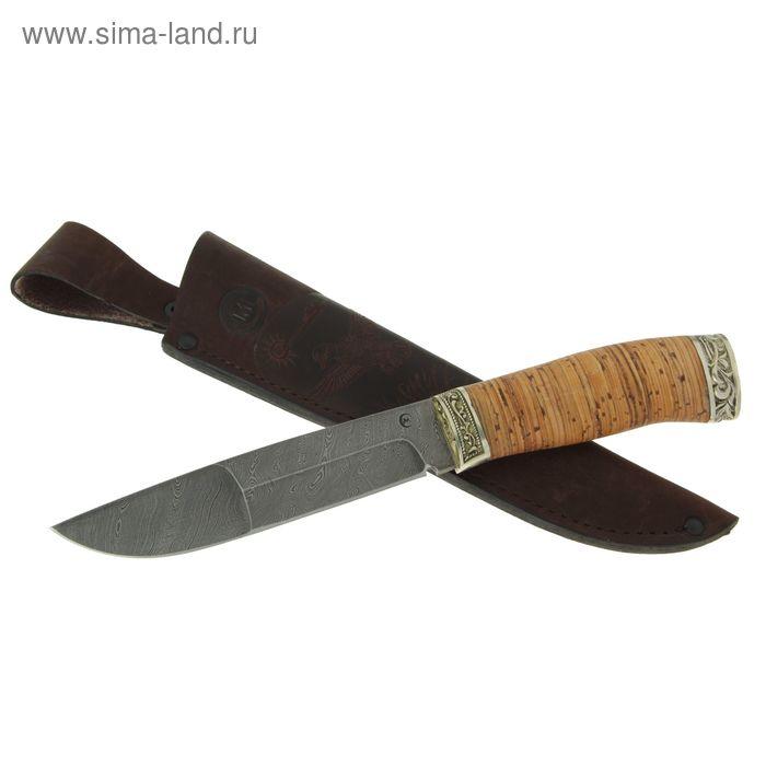 """Нож нескладной """"Путник"""", дамасская сталь, рукоять-береста, литье"""