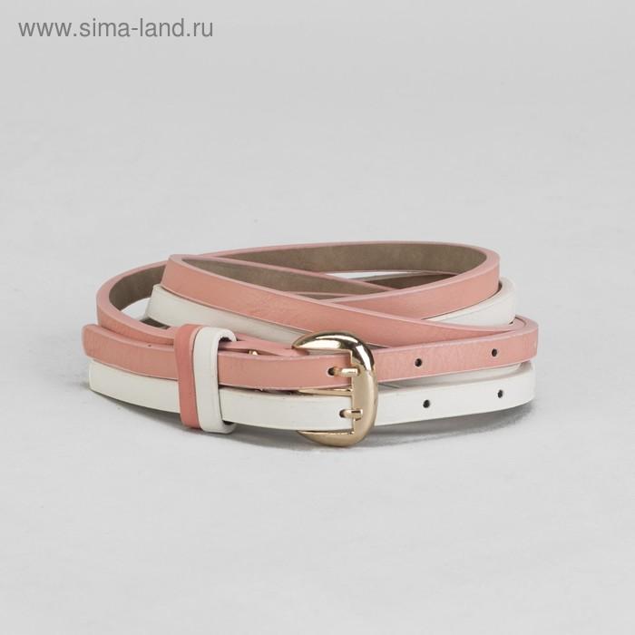 Ремень женский гладкий, пряжка под золото, ширина - 2см, бело/розовый