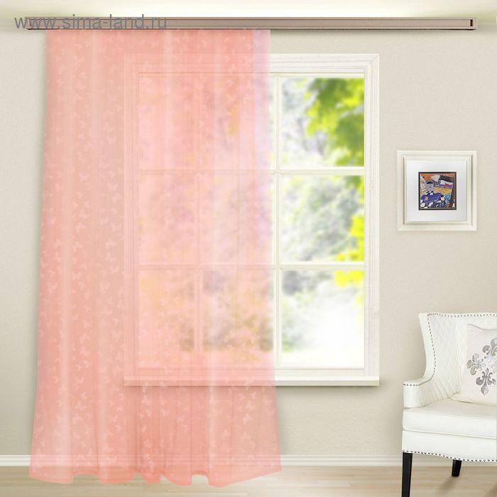 Штора вуаль с тиснением МИКС, ширина 150 см, высота 260 см, цвет светло-розовый