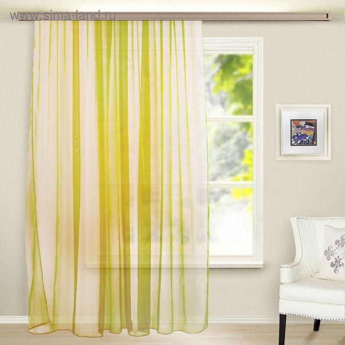 Штора Органза, ширина 150 см, высота 260 см, цвет жёлто-зелёный
