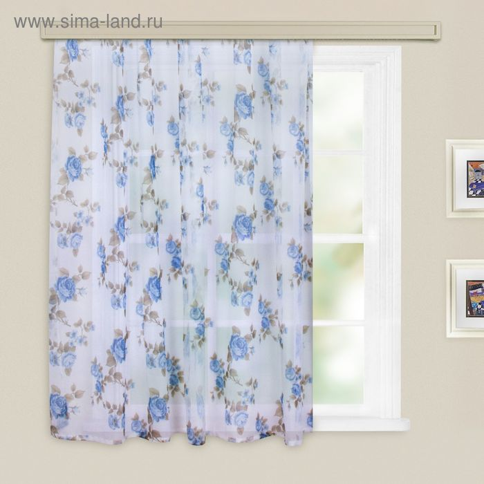 Штора вуаль-печать, принт МИКС, ширина 150 см, высота 260 см, цвет голубой