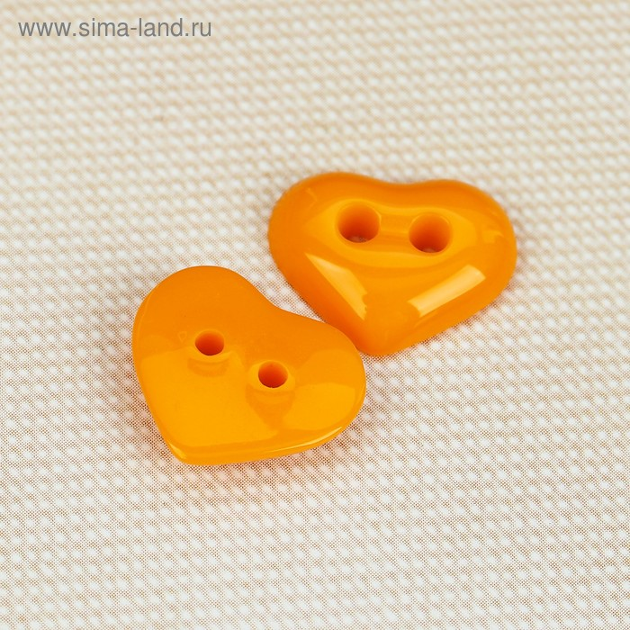 """Пуговица детская, 2 прокола """"Сердечко"""", цвет жёлто-оранжевый"""