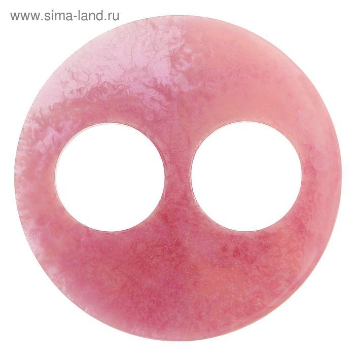 """Волшебная пуговица """"Глянцевая мраморная"""", круг, цвет сиренево-розовый"""