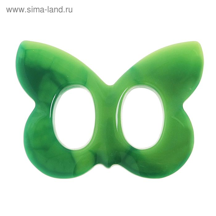 """Волшебная пуговица """"Бабочка"""" глянцевая, цвет зелёный"""