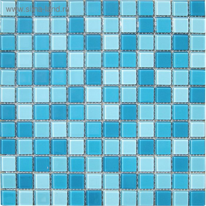 Mозаика стеклянная Elada Mosaic CB301, бело-голубая, 327х327х4 мм