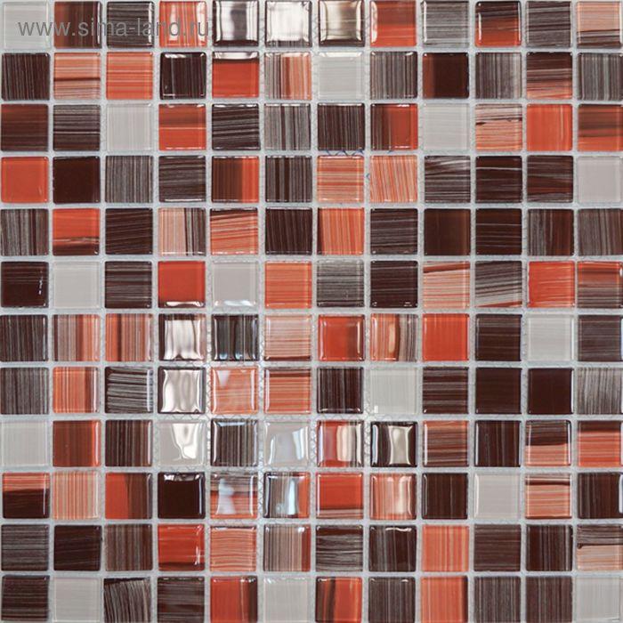 Mозаика стеклянная Elada Mosaic JSM-CH1024, терракотовая полосатая, 327х327х4 мм