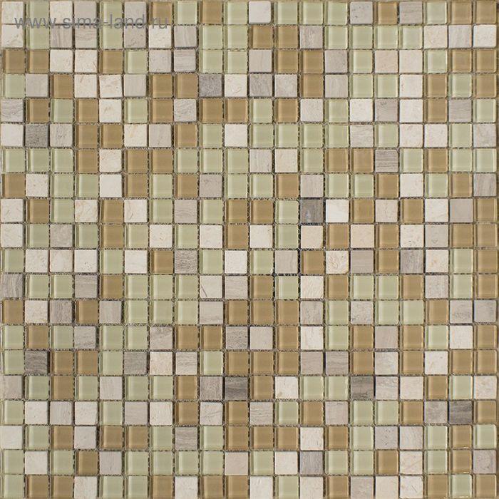 Mозаика стеклянная Elada Mosaic HK-41 Crystal+Stone, бело-бежевая, 327х327х4 мм