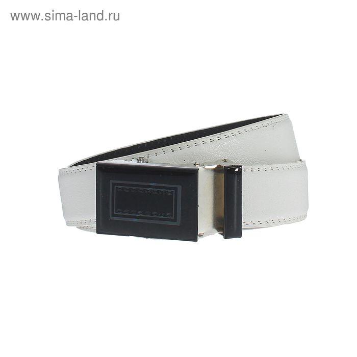 Ремень мужской гладкий, пряжка-автомат МИКС, ширина - 4см, белый