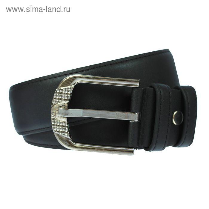Ремень мужской гладкий, пряжка под металл МИКС, ширина - 4см, чёрный