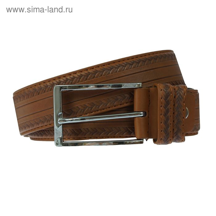 Ремень мужской, винт, пряжка под металл, ширина - 3,5см, коричневый