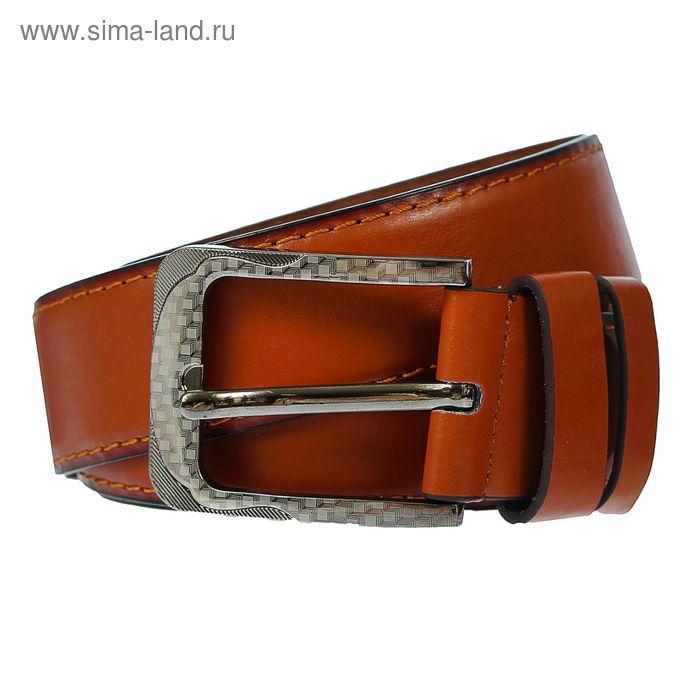 Ремень мужской гладкий, пряжка под металл, ширина - 4см, коричневый