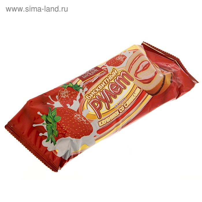 """Рулет """"Русский бисквит"""", клубника со сливками, 175 г"""