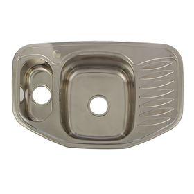 Мойка кухонная Accoona А25178В, врезная, двойная, толщина 0.8 мм, 780 х 510 х 180 мм, глянец