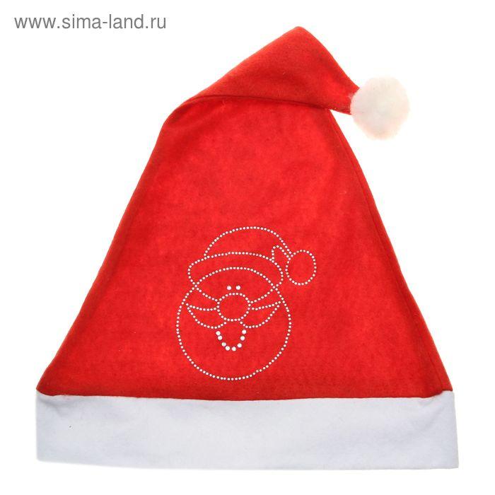 "Колпак новогодний ""Дед Мороз"" стразы, 29*38 см"