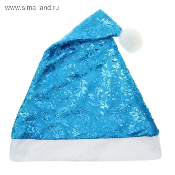 """Колпак новогодний """"Зимние узоры"""" синий глянец, 28*40 см"""