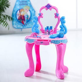 """Игровой набор """"Столик с зеркалом"""", Холодное сердце, 14 предметов, световые и звуковые эффекты, работает от батареек, высота 60 см"""