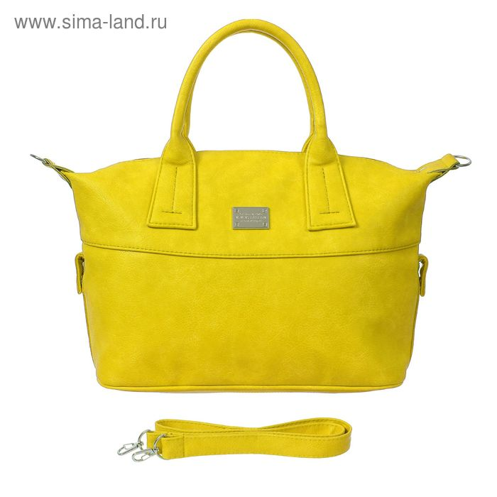 Сумка женская на молнии, 1 отдел, 1 наружный карман, длинный ремень, жёлтая