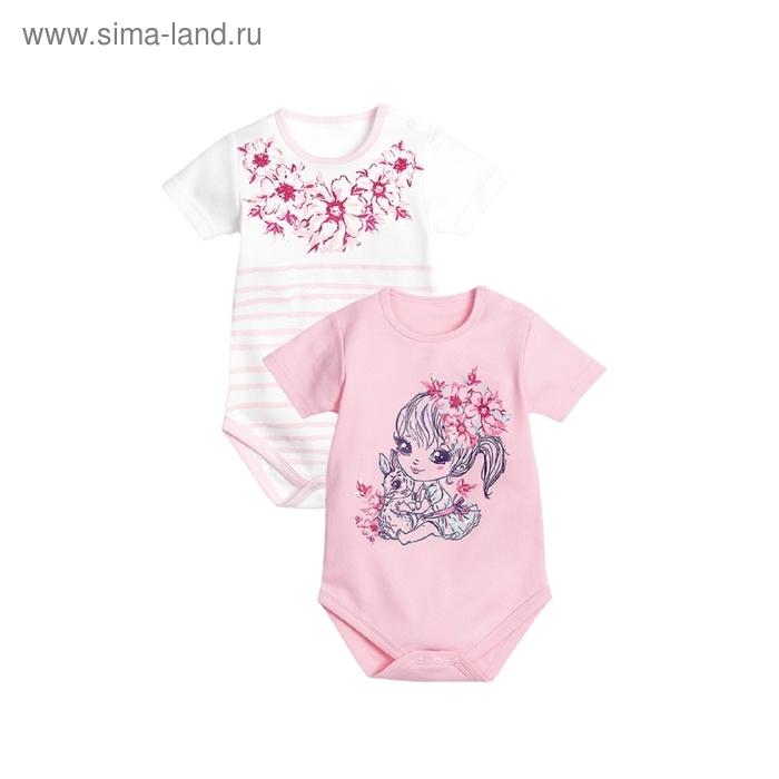 Полукомбинезон детский, 3-6 месяцев, 2 шт, цвет розовый/белый, SBT(2)424