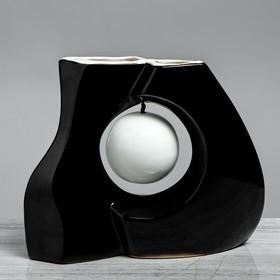 """Ваза """"Принцип"""" глазурь, чёрная, с белым шаром"""