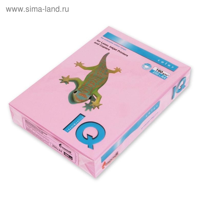 Бумага цветная IQ COLOR (А4,160г,PI25-розовый) пачка 250л.