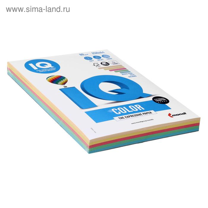 Бумага цветная IQ COLOR (А4,80г,5цв. 20,23,25,28,30 по 50л.) 250л/пач.